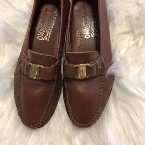Salvatore Ferragamo brown leather loafers men's